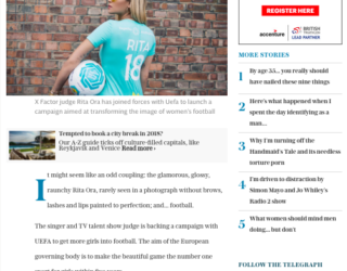 Telegraph: Rita Ora is an odd choice to back a campaign to get girls into football