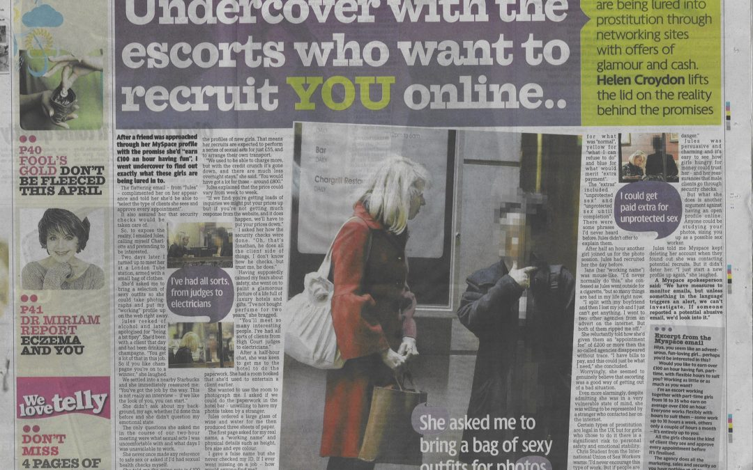 The Mirror: Undercover with the escort recruiter using Youtube to target teens